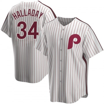 Youth Roy Halladay Philadelphia Phillies Replica White Home Cooperstown Collection Jersey