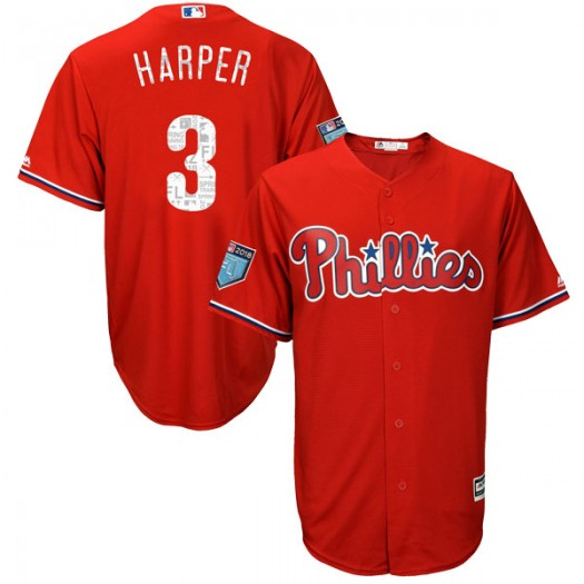 Youth Majestic Bryce Harper Philadelphia Phillies Replica Scarlet Cool Base 2018 Spring Training Jersey