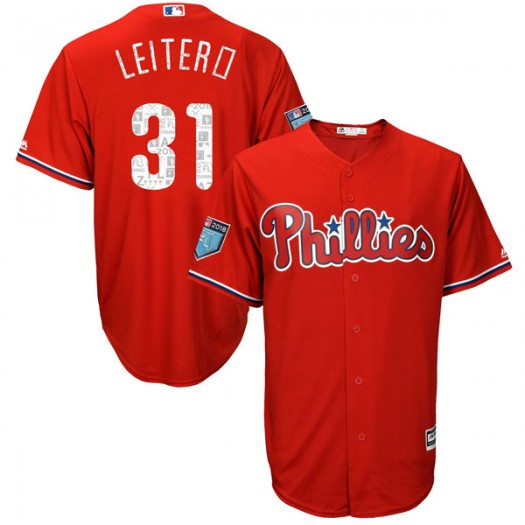 Men's Majestic Mark Leiter Jr. Philadelphia Phillies Player Replica Scarlet Cool Base 2018 Spring Training Jersey