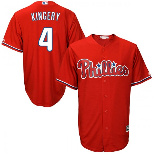Youth Majestic Scott Kingery Philadelphia Phillies Player Replica Scarlet Cool Base Alternate Jersey