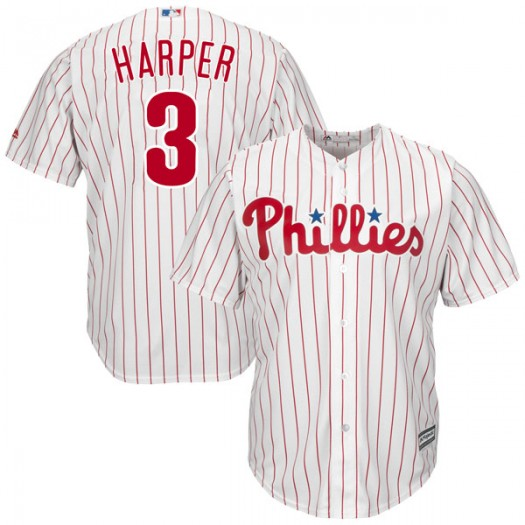Youth Majestic Bryce Harper Philadelphia Phillies Authentic White Cool Base Home Jersey