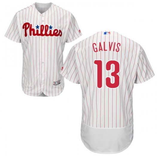 Youth Majestic Freddy Galvis Philadelphia Phillies Player Authentic White Home /Scarlet Flex Base Collection Jersey