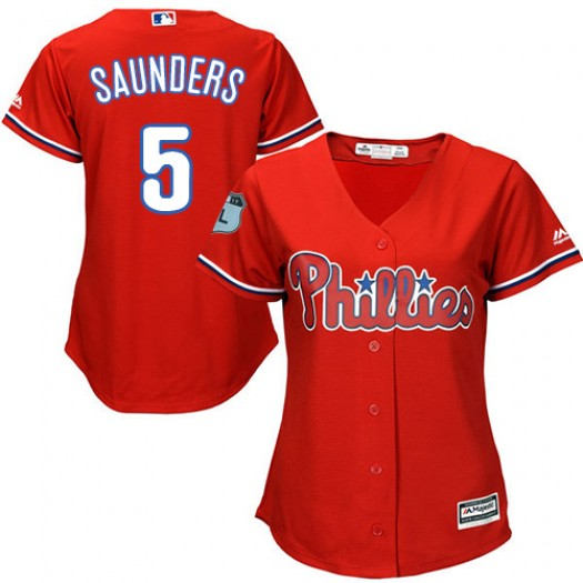 Women's Majestic Michael Saunders Philadelphia Phillies Player Authentic Red Alternate Cool Base Jersey