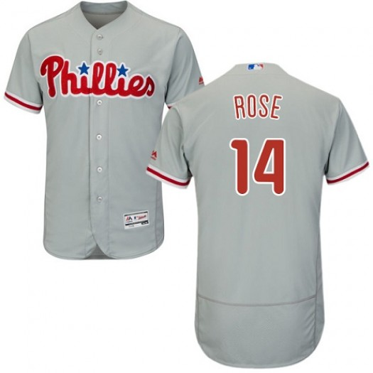 Men's Majestic Pete Rose Philadelphia Phillies Player Authentic Grey Flexbase Collection Jersey