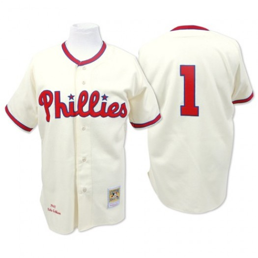 Men's Mitchell and Ness Richie Ashburn Philadelphia Phillies Authentic Cream Throwback Jersey