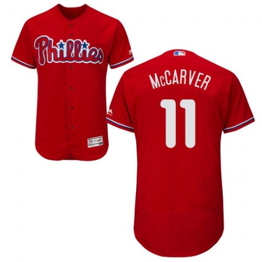 Men's Majestic Tim McCarver Philadelphia Phillies Player Authentic Red Flexbase Collection Jersey